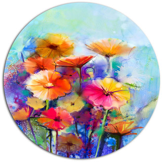 """Design Art Usa Abstract Floral Watercolor Painting, Modern Floral Round Wall Art, 11"""""""