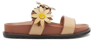 Fabrizio Viti - Ingrid Berkley Daisy-applique Leather Slides - Camel