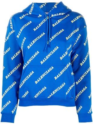 Balenciaga All-Over Logo Hoodie