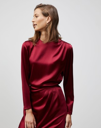 Lafayette 148 New York Plus-Size Reverie Satin Cloth Verona Blouse
