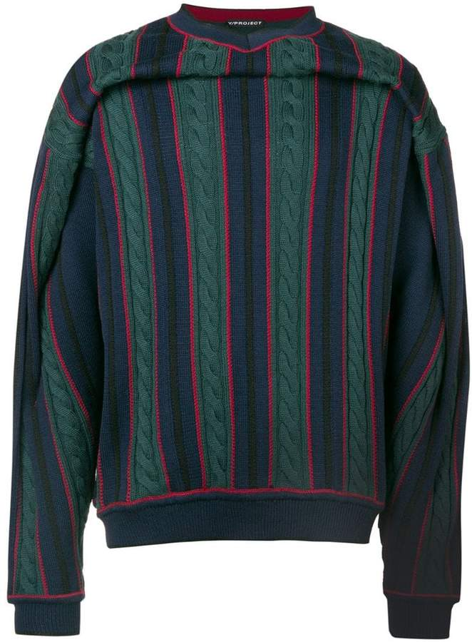 Y/Project Y / Project striped cable-knit jumper