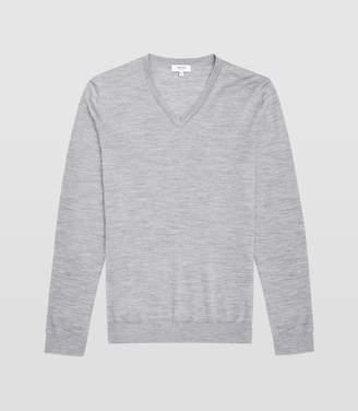 Reiss Earl - Merino Wool V-neck Jumper in Grey Melange