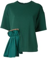 Muveil ruffled detailing T-shirt - women - Cotton/Polyester/Polyurethane - 36
