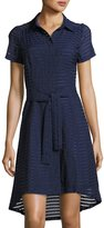 Donna Ricco Shadow-Striped Belted Shirtdress, Navy