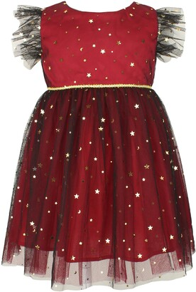 Popatu Kids' Foil Star Flutter Sleeve Dress