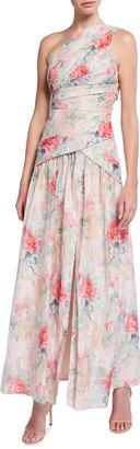 Aidan Mattox One-Shoulder Rose Jacquard Front Slit Gown