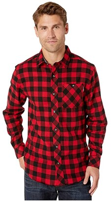 Timberland Woodfort Mid-Weight Flannel Work Shirt (Classic Red Buffalo Check) Men's Clothing