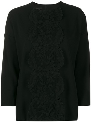 Escada 3/4 Sleeves Lace-Detail Blouse