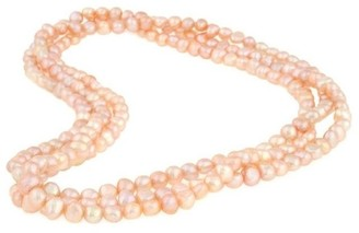 DaVonna 7-8mm Pink Baroque Freshwater Pearl Endless Necklace, 64-inch