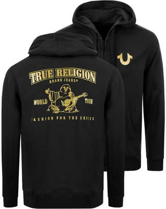 True Religion Double Puff Full Zip Hoodie Black