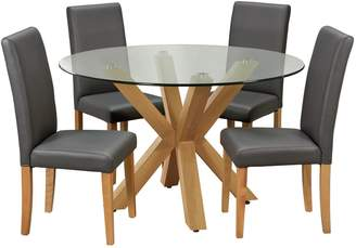 Alden Argos Home Glass Dining Table & 4 Charcoal Chairs