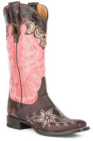 Stetson Brown & Pink Star Burst Leather Cowboy Boot