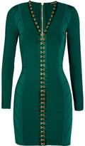 Balmain Ribbed Stretch-knit Mini Dress - Emerald