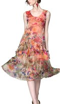 PINGORA Womens Summer Clothing Fashion Floral Print Silk Dress (L, )