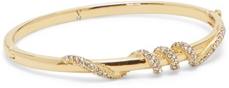 Vince Camuto Goldtone Hinge Bangle with Crystal Pave Wrapped Detail