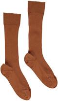 Noro Ribbed Scottish Lisle Cotton Socks Dark green