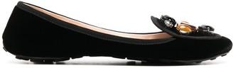 Car Shoe Gem-Embellished Velvet Pumps