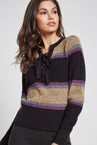 BCBGeneration Rainbow Striped Lace-Up Sweater - Black