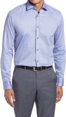 HUGO BOSS Joy Slim Fit Dobby Cotton & Linen Dress Shirt