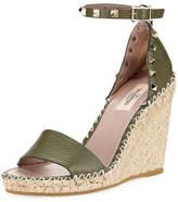 Valentino Rockstud Leather Espadrille Wedge Sandal