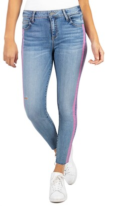 KUT from the Kloth Connie High Waist Side Stripe Ankle Skinny Jeans