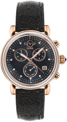 Gevril Women's Marsala Sparkle Chronograph Diamond Leather Strap Watch, 37mm - 0.0044 ctw