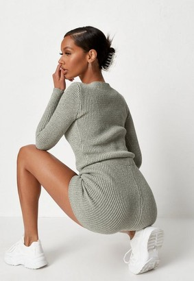 Missguided Green Co Ord Textured Knit Shorts