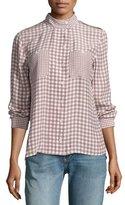Equipment Alma Gingham Stand-Collar Silk Shirt, Pink/White