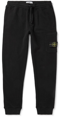 Stone Island Tapered Slim-Fit Logo-Appliqued Fleece-Back Cotton-Jersey Cargo Sweatpants