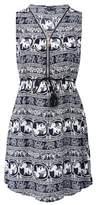 Dorothy Perkins Womens Izabel London Multi Colour Elephant Print Zip Front Dress