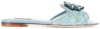 Dolce & Gabbana Crystal-Embellished Lace Slides