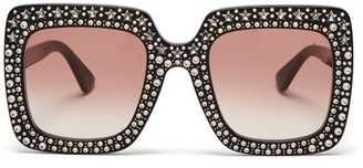 Gucci Crystal-embellished Square Acetate Sunglasses - Womens - Black Red