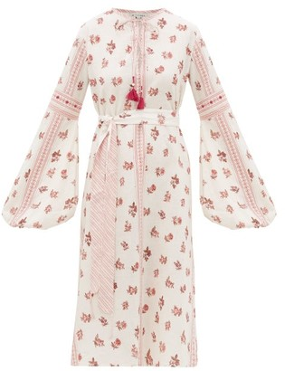 D'Ascoli Montauk Belted Floral-print Cotton Dress - Red Print