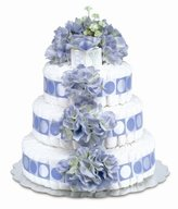 Bloomers Baby Diaper Cake Classic Blue Hydrangea 3-Tier by