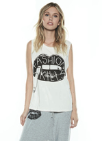 Lauren Moshi Kel Vintage Scoop Neck Tank in Milk