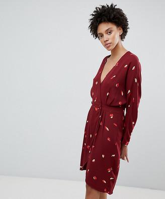 Selected printed mini wrap dress in burgundy