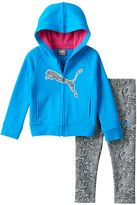 Puma Baby Girl Fleece-Lined Logo Hoodie & Zebra Leggings Set