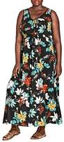 City Chic Tropical Print Maxi Dress