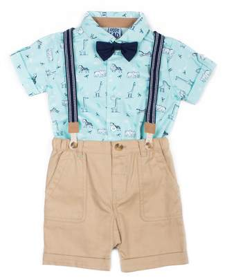 Baby Boy Little Lad 4 Piece Wildlife Shirt, Shorts, Striped Suspenders & Bow Tie Set