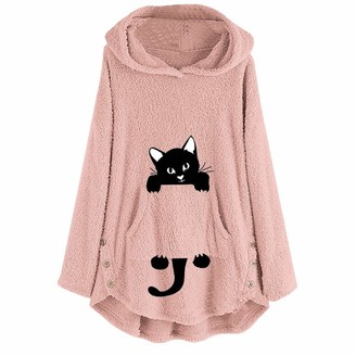 Lazzboy Women Pullover Tops Hooded Teddy Fleece Casual Loose Solid Cat Print Pocket Faux Fur Cute Fluffy Warm Pajamas Blouse Coat Jacket (3XL(20)
