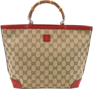 Gucci Beige/Red GG Canvas Bamboo Top Handle Bag