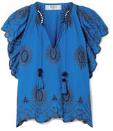 Sea Fiona Ruffled Broderie Anglaise Cotton Top - Bright blue