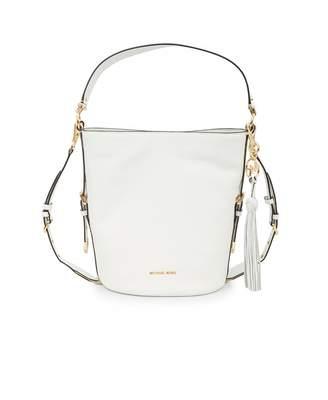 Michael Kors Brooke Soft Leather Bucket Messenger Bag Colour: Optic Wh