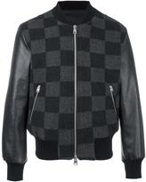 Ami Alexandre Mattiussi runway checked teddy jacket - men - Cotton/Calf Leather/Spandex/Elastane/Wool - S