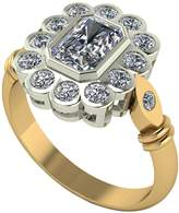 Moissanite 9ct Gold 7x5 Radiant Centre Antique Cluster Ring