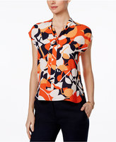 Nine West Printed Tie-Neck Blouse