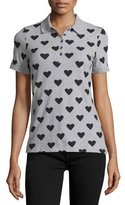 Burberry Heart Polo Shirt, Pale Gray Melange/Black