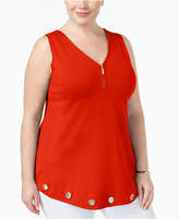 Belldini Plus Size Grommet-Trim Sweater