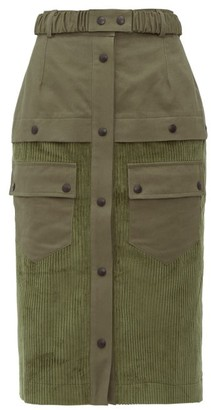 Symonds Pearmain - High-rise Patch-pocket Corduroy Pencil Skirt - Womens - Khaki