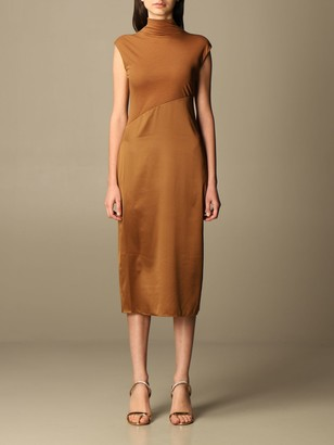 Theory Dress Midi Dress In Satin And Stretch Cotton